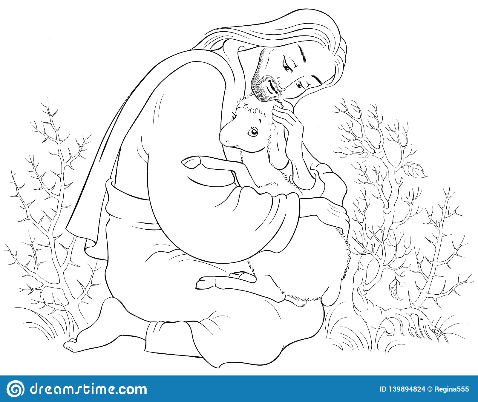 history jesus christ parable lost sheep good shepherd rescuing lamb caught thorns coloring page standard scenes image