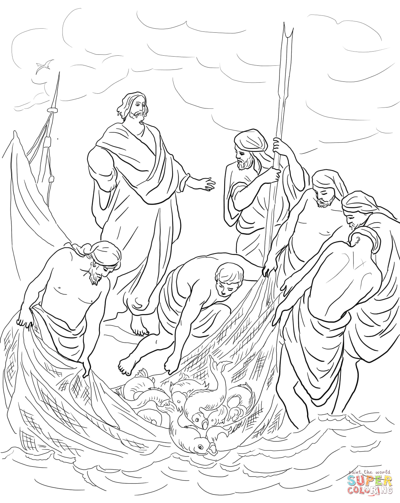 Jesus and the Miraculous Catch Of Fish Coloring Page Jesus and the Miraculous Catch Of Fish Coloring Page