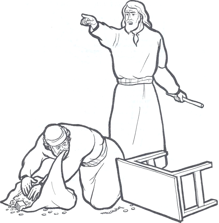 jesus and the money changers page sketch templates