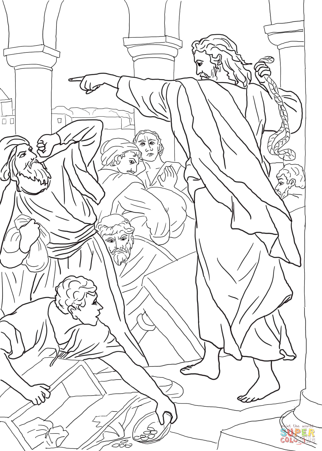 Jesus and the Money Changers Coloring Page Jesus Chasing the Money Changers From the Temple Coloring