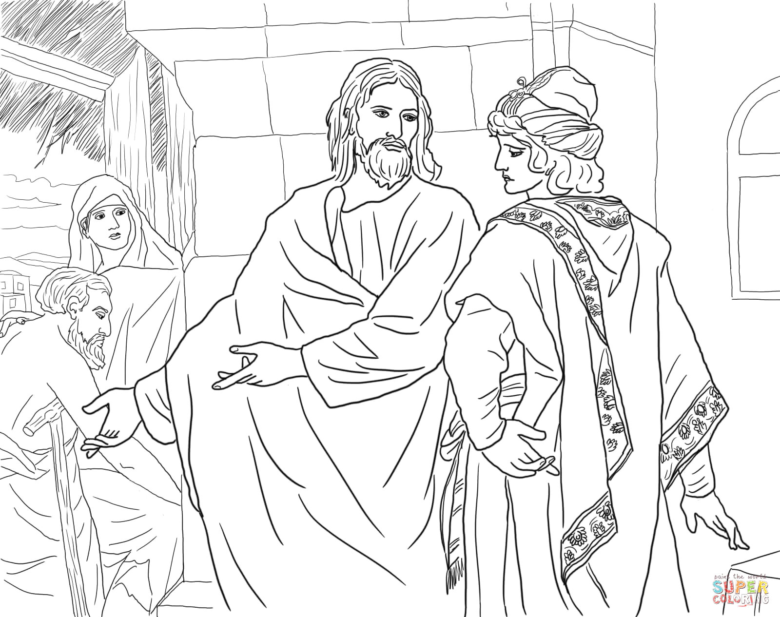 Jesus and the Rich Man Coloring Page Rich Young Ruler Clipart Clipart Suggest