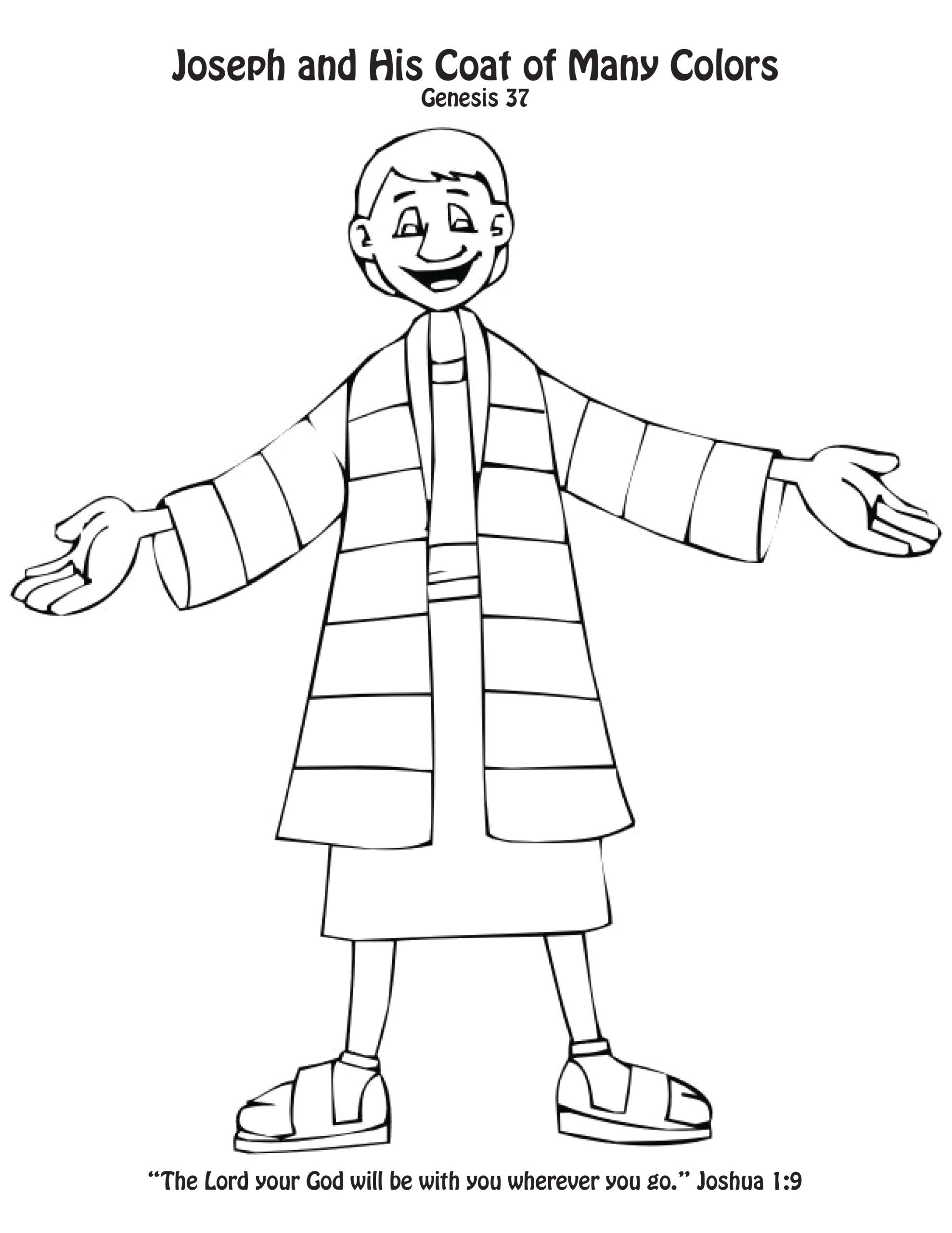 Joseph and His Coat Of Many Colors Coloring Page Joseph S Coat Of Many Colors Craft Coloring Page toddlers