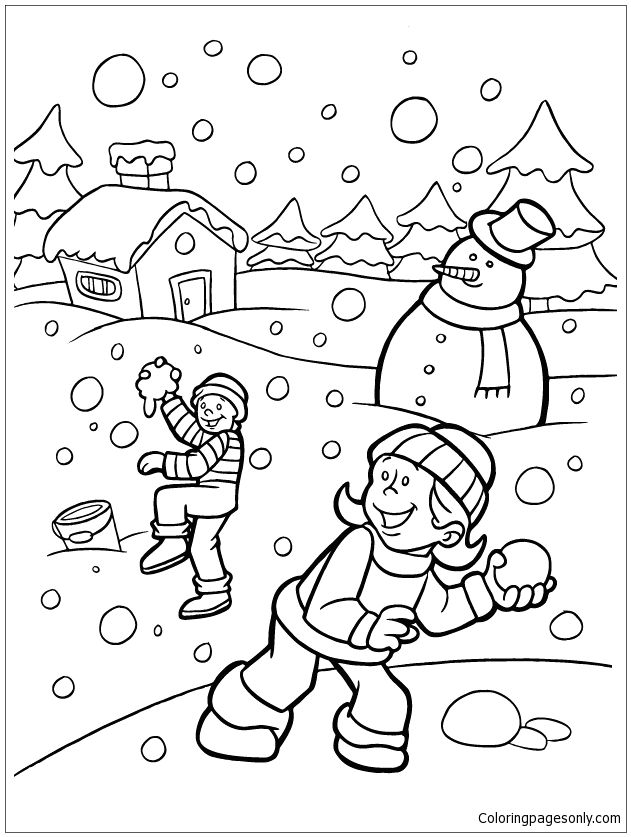 Kids Playing In the Snow Coloring Pages Kids Playing Snow In the Winter Coloring Pages Nature