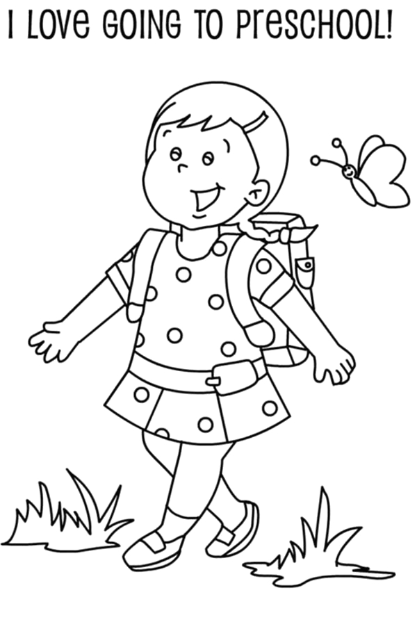 Kindergarten First Day Of School Coloring Pages A Preschool Girl Student Her First Day School