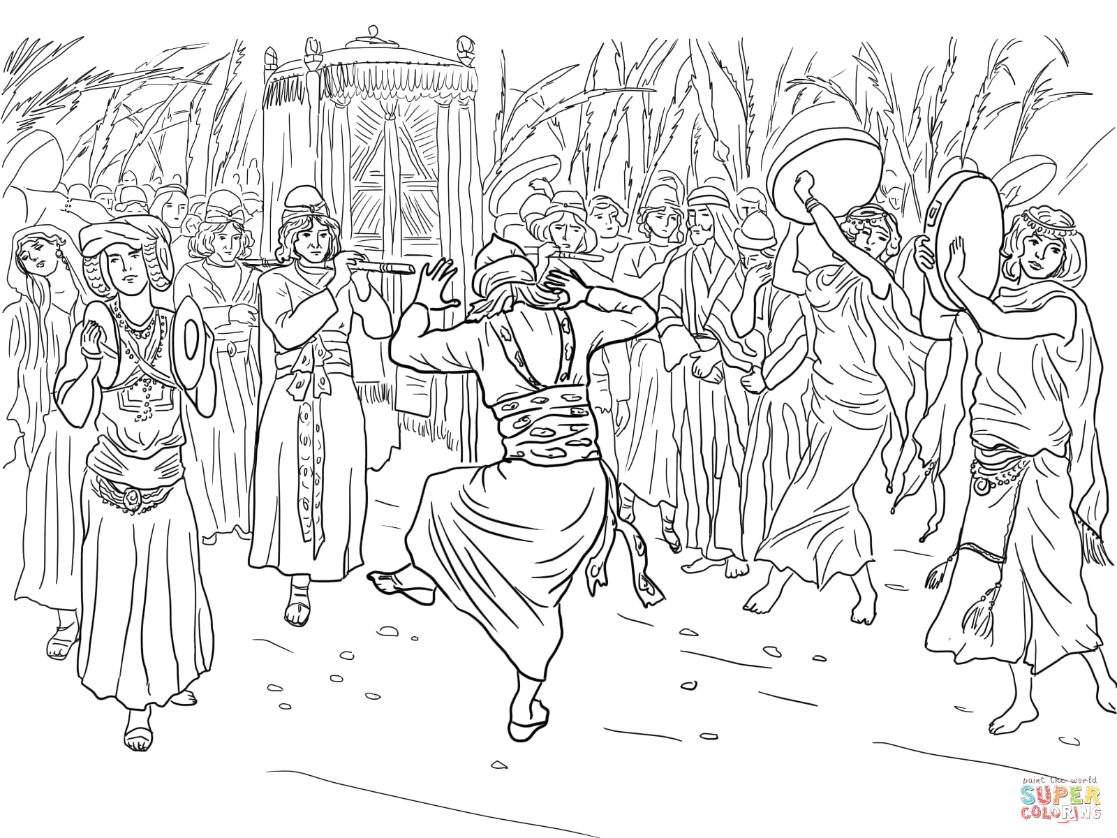 King David and the Ark Of the Covenant Coloring Page King David Dancing before the Ark Of the Covenant Coloring