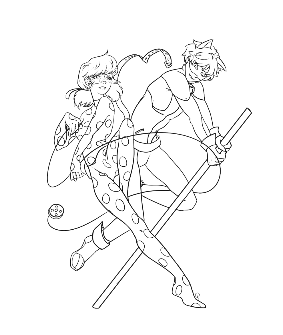Ladybug and Cat Noir Coloring Pages Printable Ladybug and Cat Noir Coloring Pages to and Print