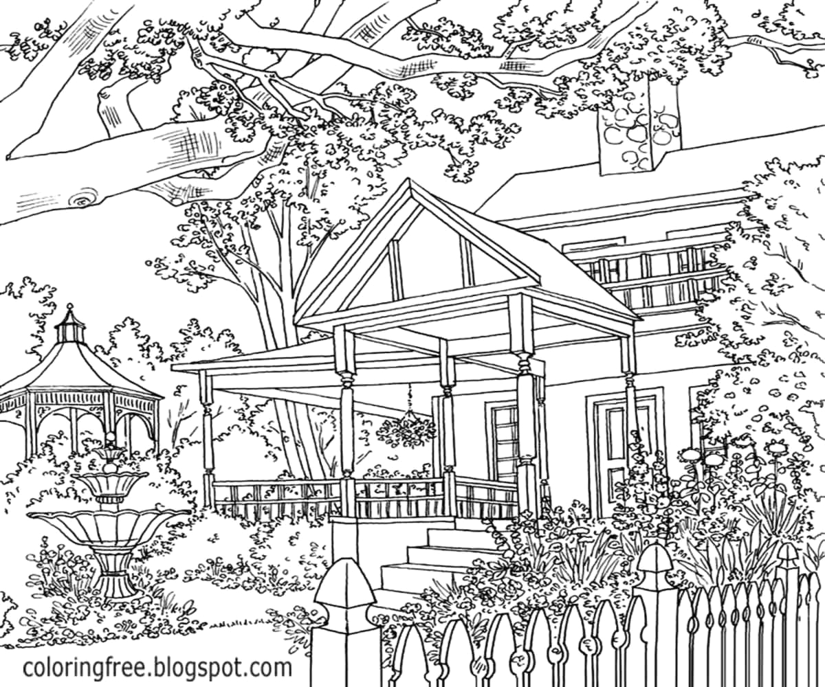 Landscape Coloring Pages for Adults to Print Detailed Landscape Coloring Pages for Adults at