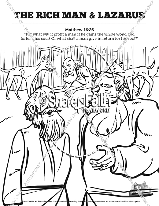 Lazarus and the Rich Man Coloring Pages Luke 16 Lazarus and the Rich Man Sunday School Coloring