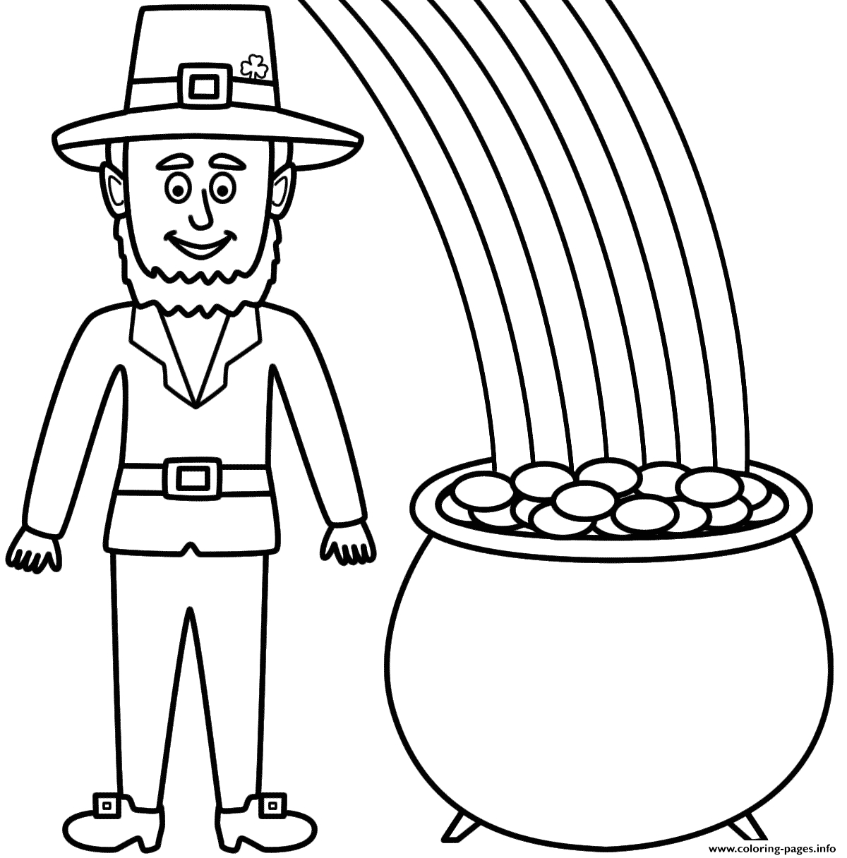 Leprechaun and Pot Of Gold Coloring Pages Leprechaun with A Pot Gold and Rainbow Coloring Pages