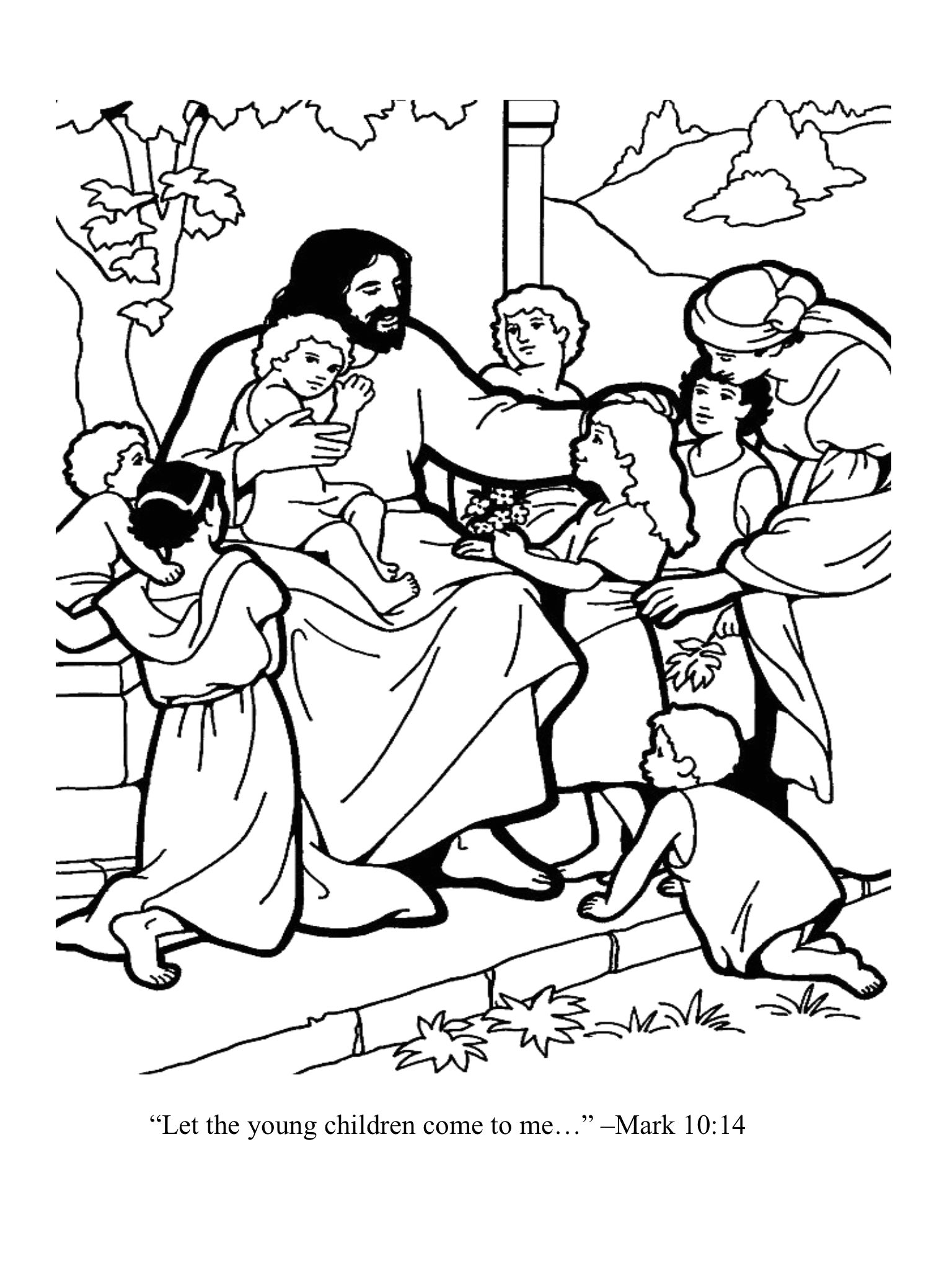 Let the Children Come to Me Coloring Page Let the Young Children E to Me
