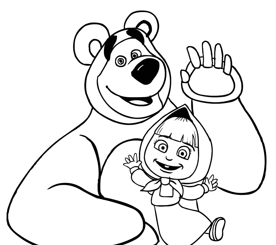 Masha and the Bear Coloring Pages Printable Masha and the Bear Coloring Page