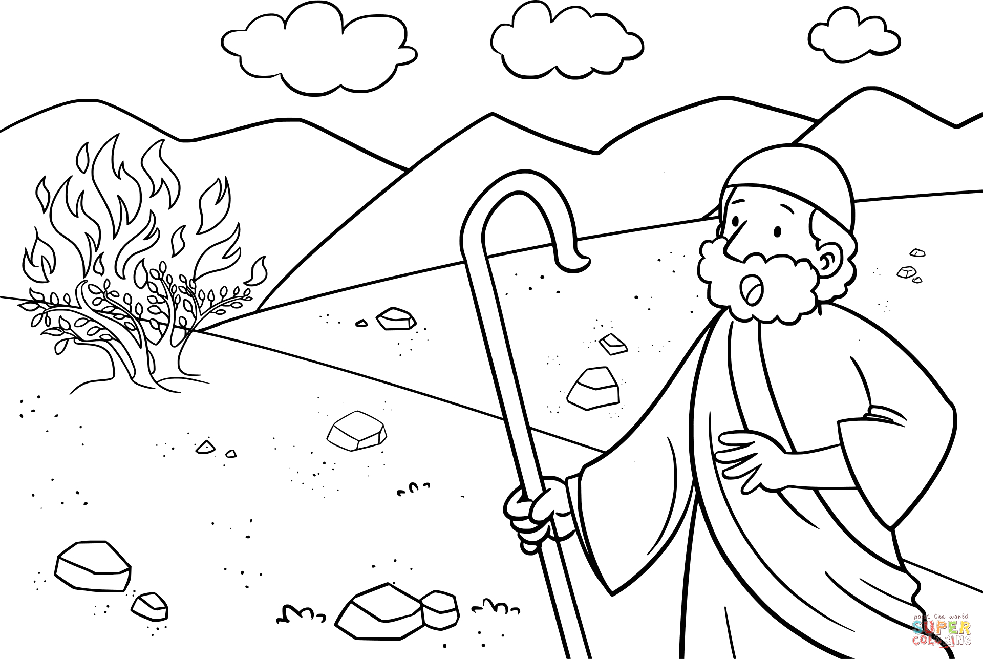 Moses and the Burning Bush Coloring Page Moses & the Burning Bush Coloring Page