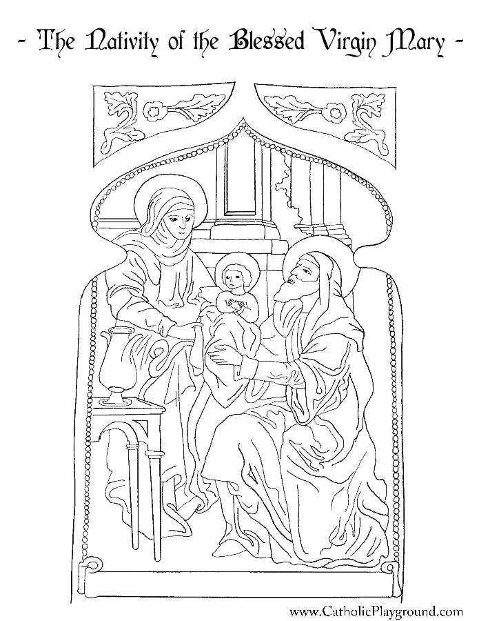 Nativity Of the Blessed Virgin Mary Coloring Page Nativity Of the Blessed Virgin Mary Coloring Page