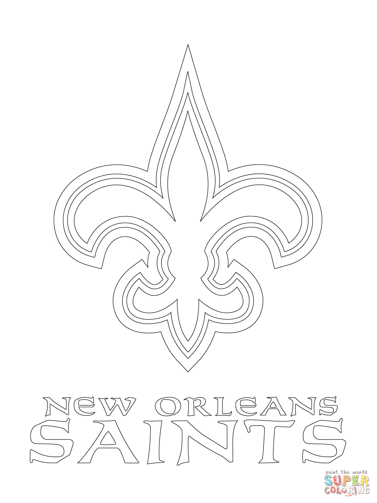 New orleans Saints Coloring Pages to Print New orleans Saints Logo Coloring Page