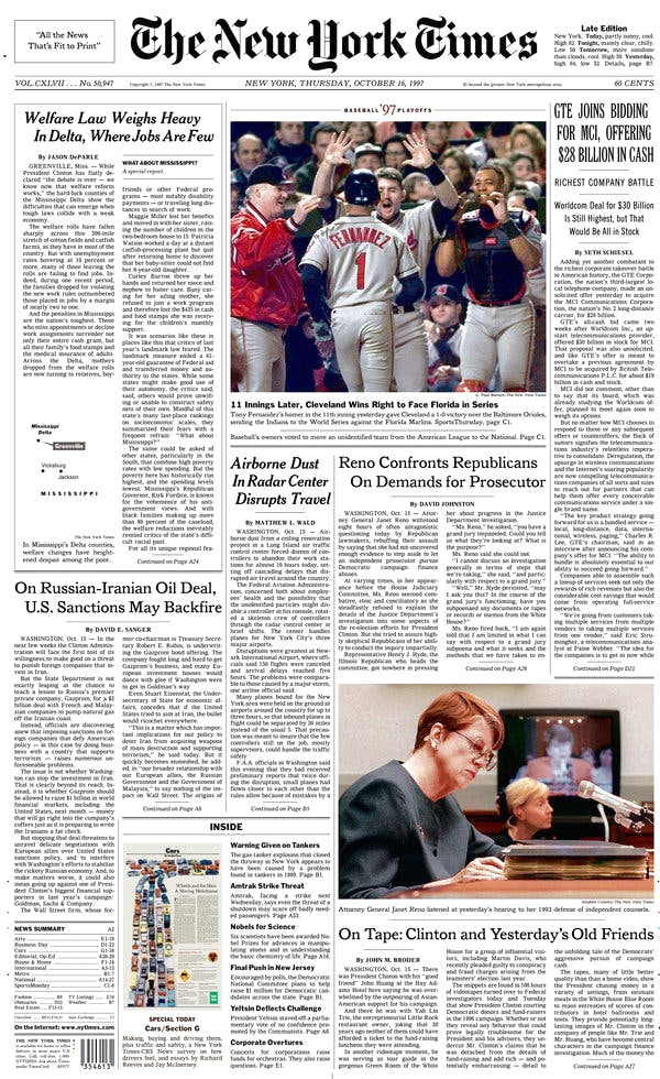 New York Times First Color Front Page A Slice Of Life In 1997 when the orioles Last Made the A