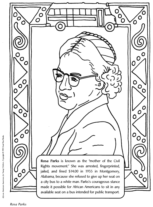 Nick Jr Black History Month Coloring Pages Rosa Parks Mother Of Civil Rights Movement Coloring Page