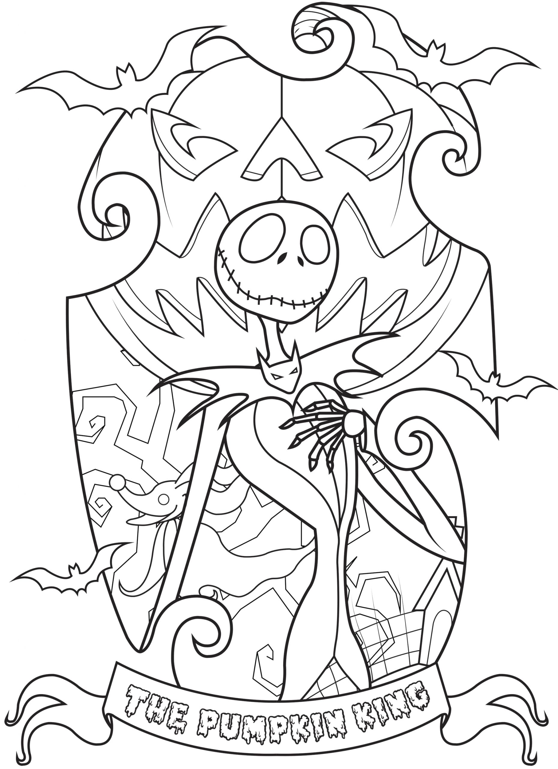 Nightmare before Christmas Halloween Coloring Pages for Adults Jack Skellington King Of Halloween town Plex