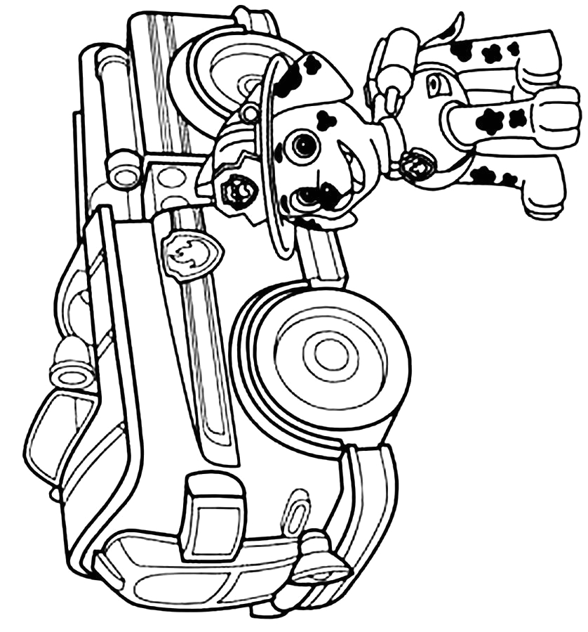 paw patrol coloring pages marshall and firetruck