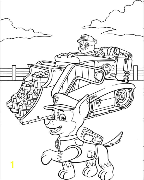 paw patrol marshall fire truck coloring page