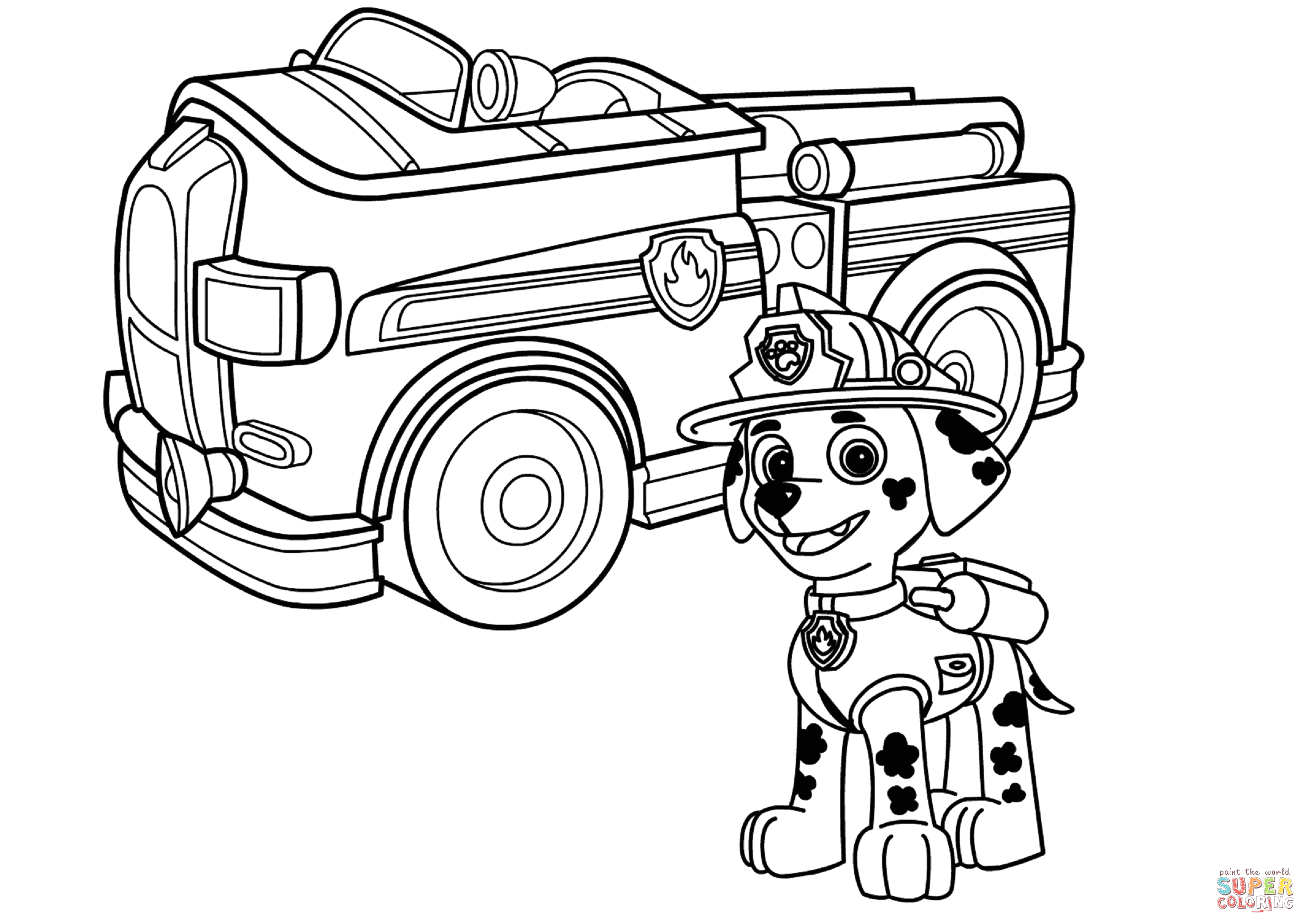 Paw Patrol Marshall Fire Truck Coloring Page Paw Patrol Marshall with Fire Truck Coloring Page