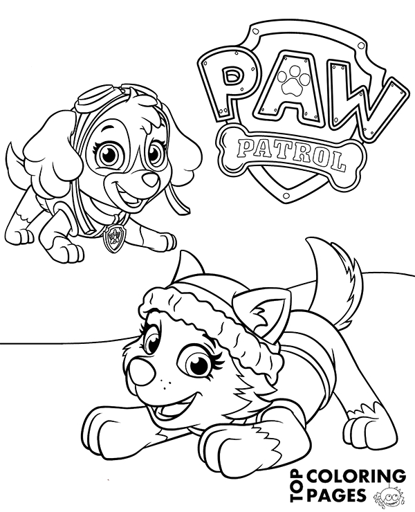 Paw Patrol Skye and Everest Coloring Pages Everest and Skye On Printable Paw Patrol Coloring Page
