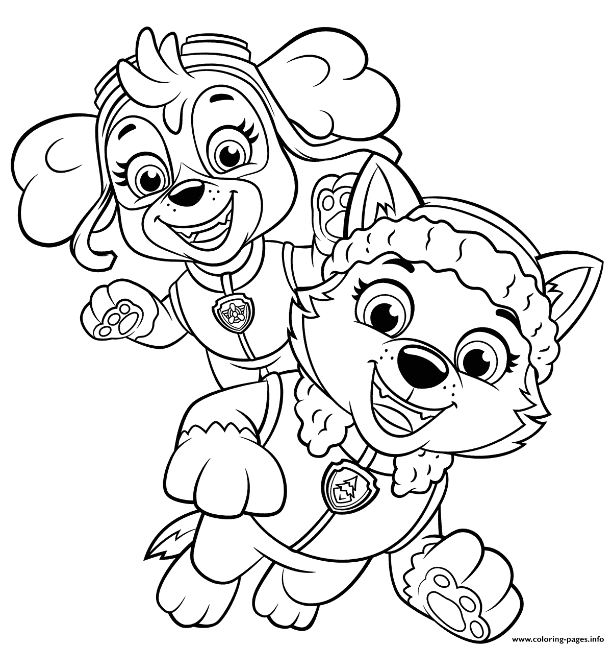 skye and everest printable coloring pages book