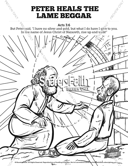 peter heals the lame beggar sunday school coloring pages