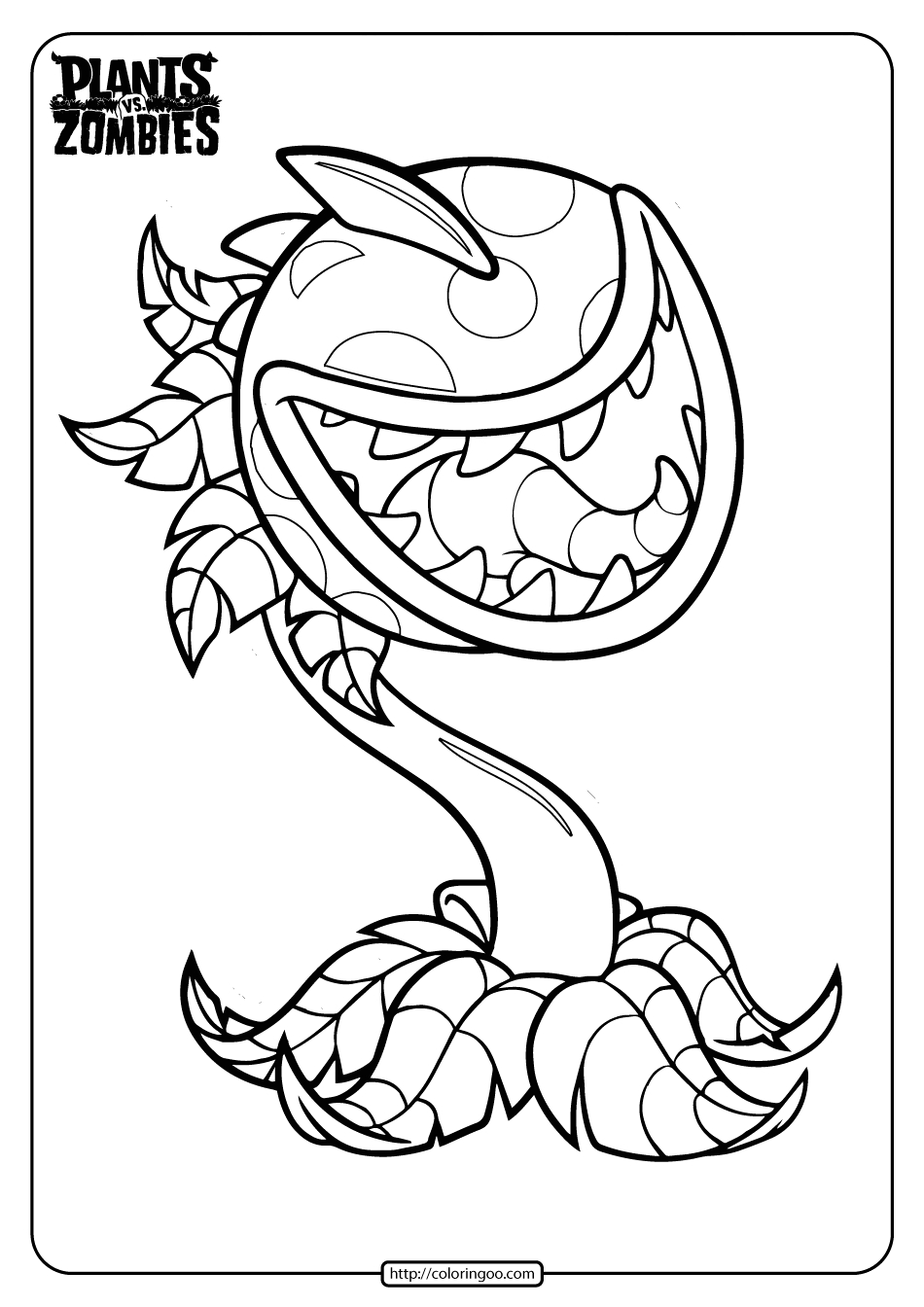Plants Vs Zombies Battle for Neighborville Coloring Pages Free Printable Plants Vs Zombies Chomper Coloring
