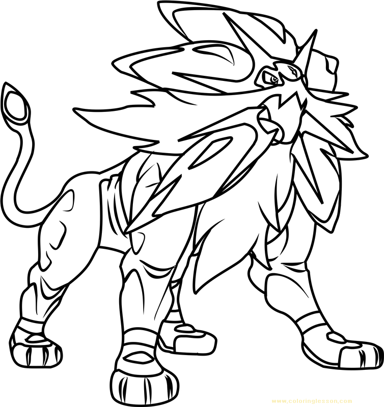 solgaleo pokemon sun and moon kids coloring page