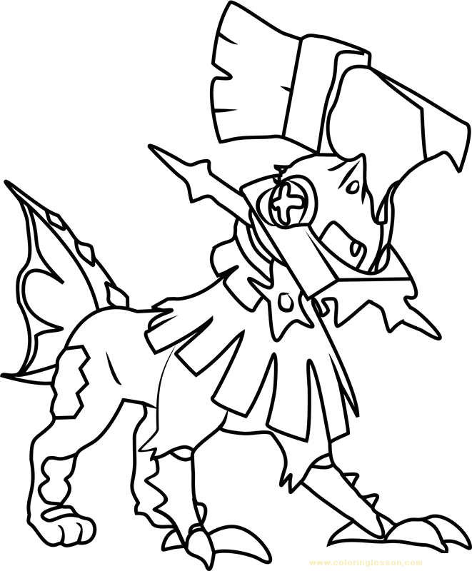 type null pokemon sun and moon kids coloring page