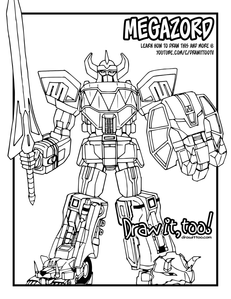 Power Rangers Dino Charge Megazord Coloring Pages Speed Drawing Megazord Mighty Morphin Power Rangers