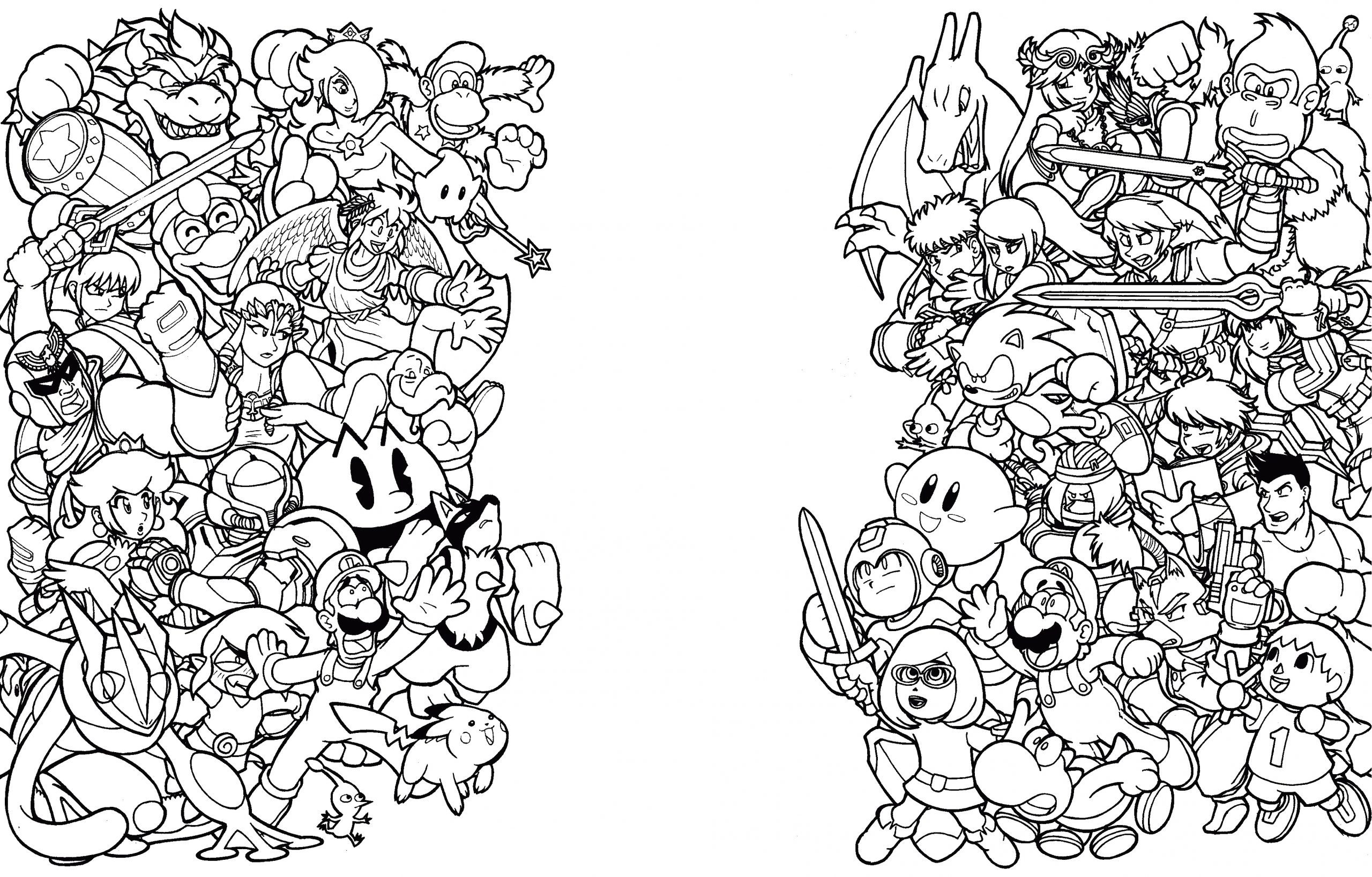 Printable Super Smash Bros Ultimate Coloring Pages Super Smash Bros Coloring Pages Freecolorngpages Co with