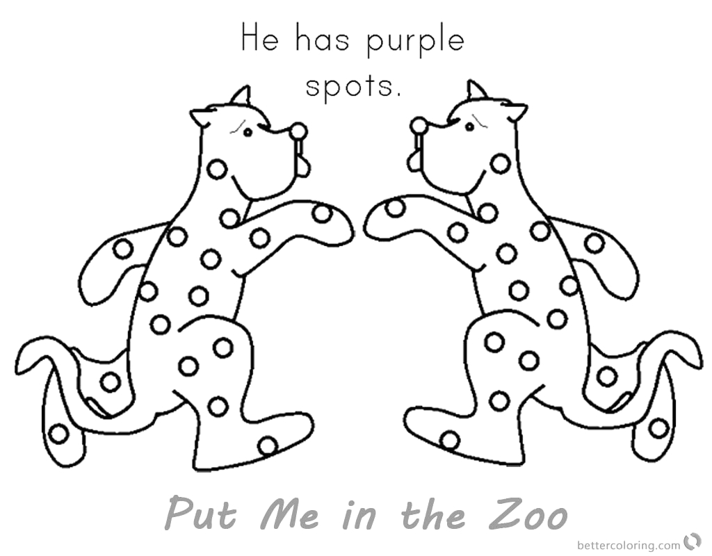 put me in the zoo coloring pages purple spots