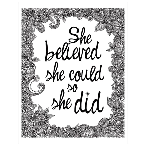 She Believed She Could so She Did Coloring Page She Believed She Could so She Did Black and White Print