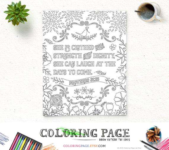 She is Clothed In Strength and Dignity Coloring Page Bible Verse Coloring Page She is Clothed Printable Proverbs