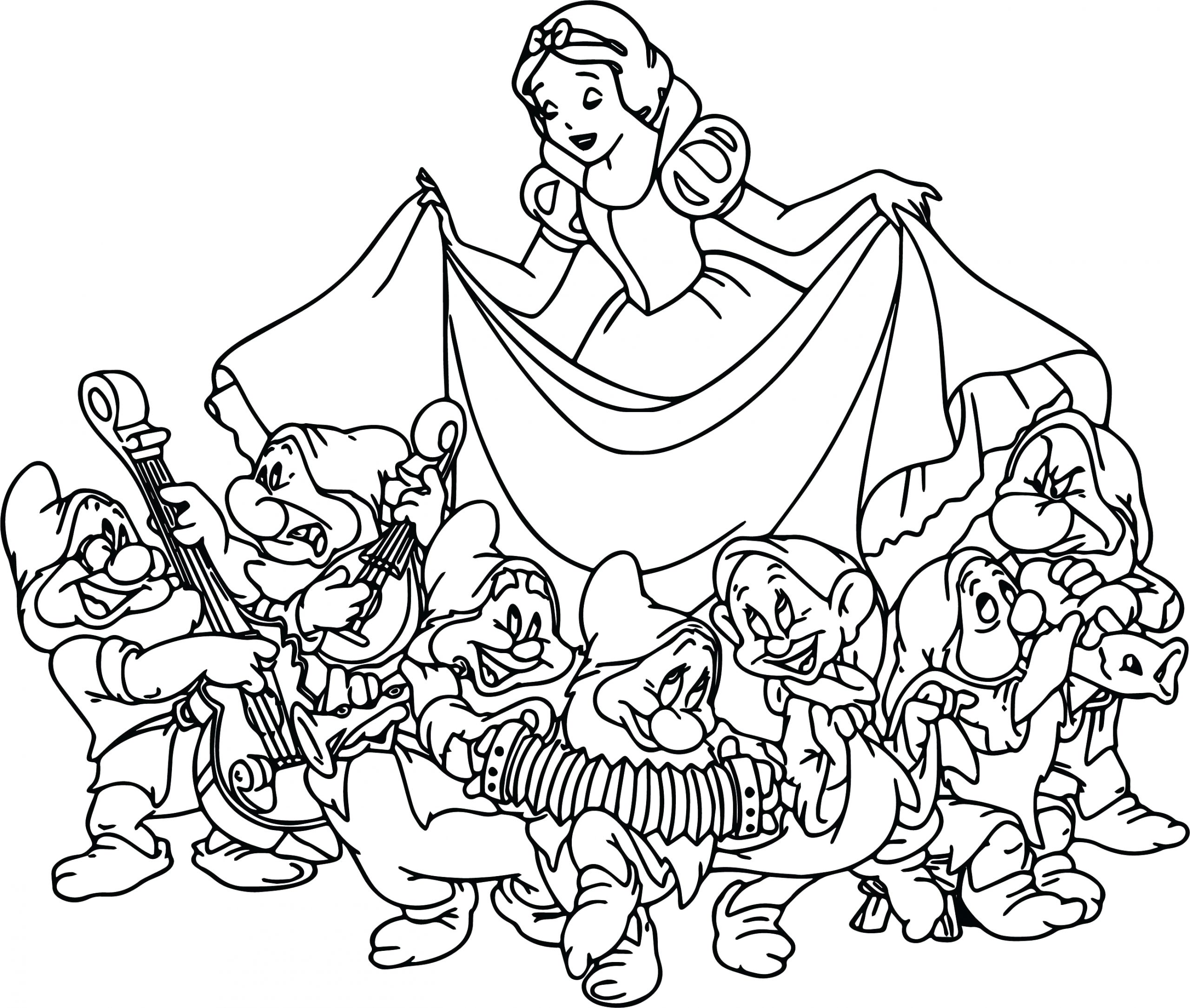 Snow White and the Seven Dwarfs Coloring Pages 7 Dwarfs Coloring Pages