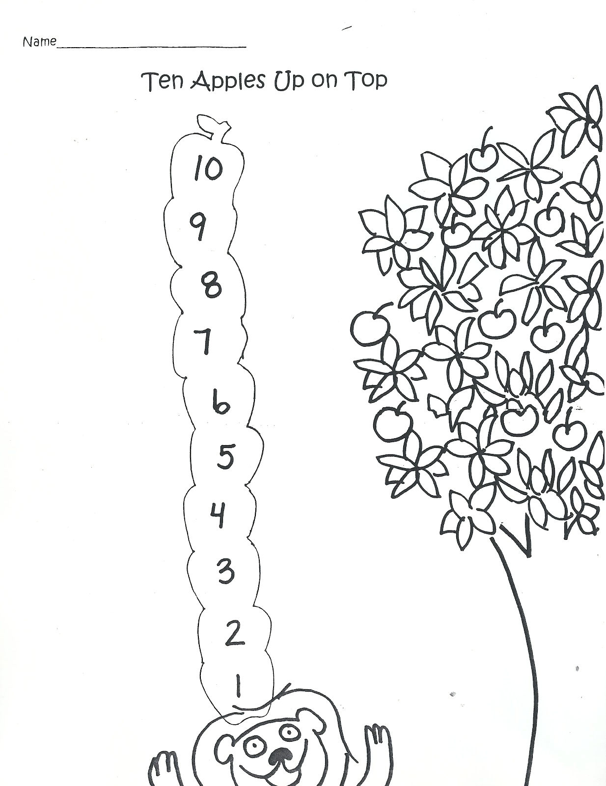 Ten Apples Up On top Coloring Pages Chicka Chicka Kindergarten Ten Apples Up top