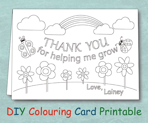 Thank You for Helping Me Grow Coloring Page Items Similar to Personalized Coloring Teacher Thank You