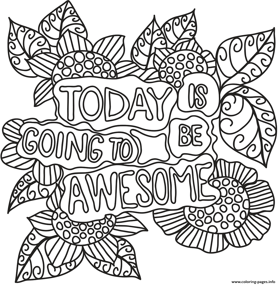 Today is Going to Be Awesome Coloring Page today is Going Be Awesome Coloring Pages Printable