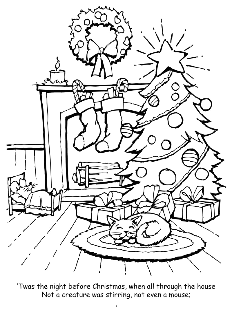 Twas the Night before Christmas Coloring Pages Coloring Books