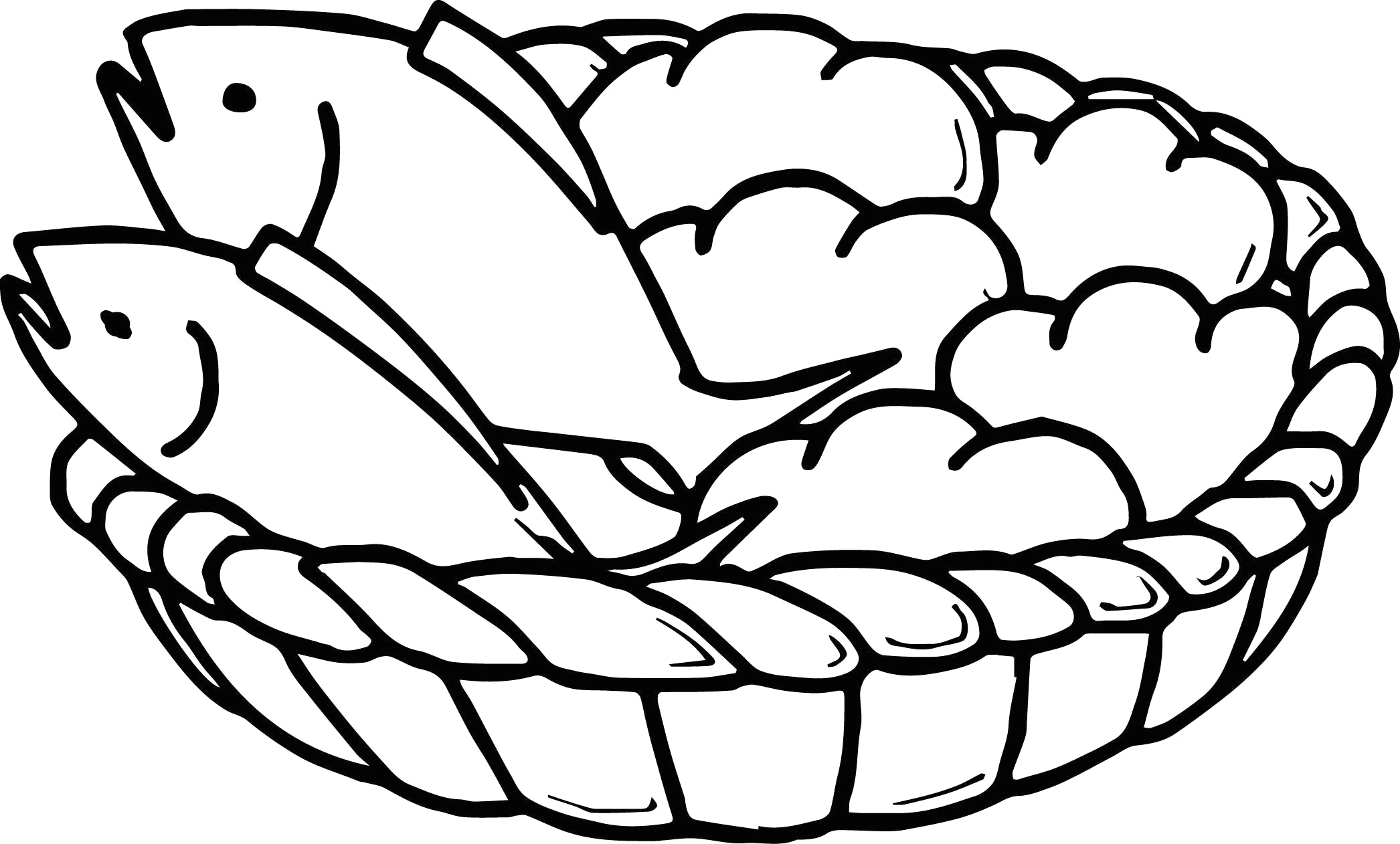 Two Fish and Five Loaves Of Bread Coloring Page Awesome 5 Loaves Bread and 2 Fish Coloring Page Loaves and