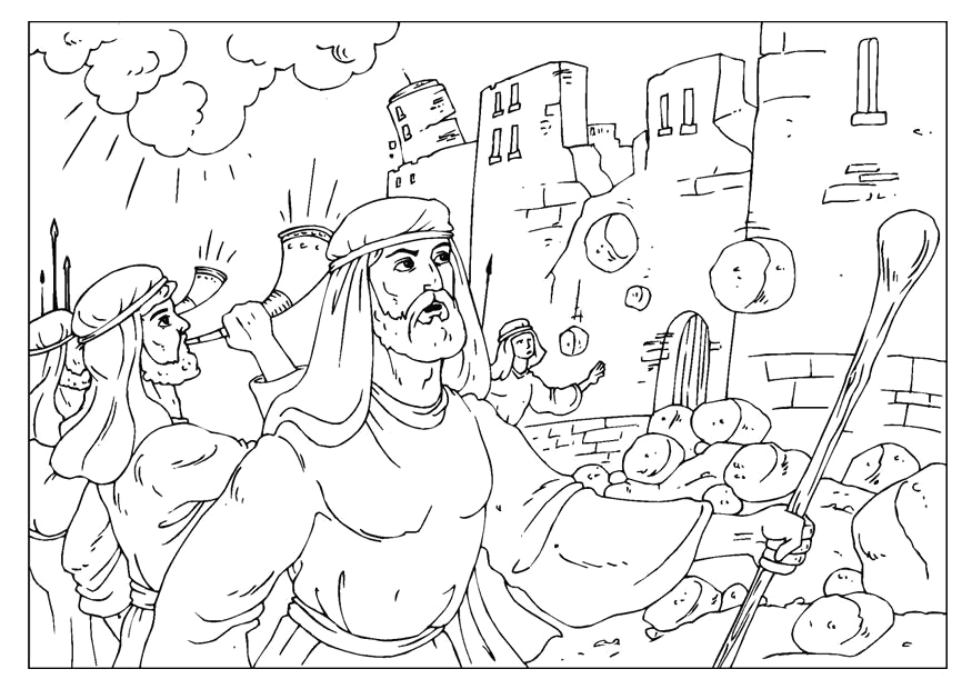 coloring pages joshua and jericho