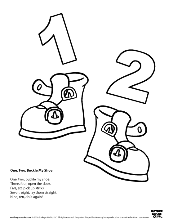 1 2 Buckle My Shoe Coloring Page Coloring Pages E Two Buckle My Shoe
