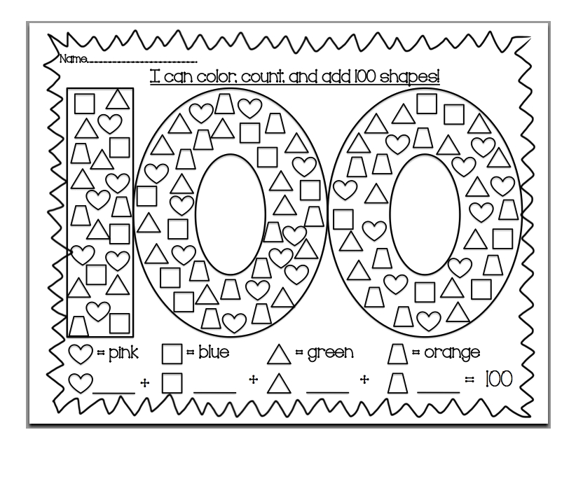 100th day of school coloring pages printable kids