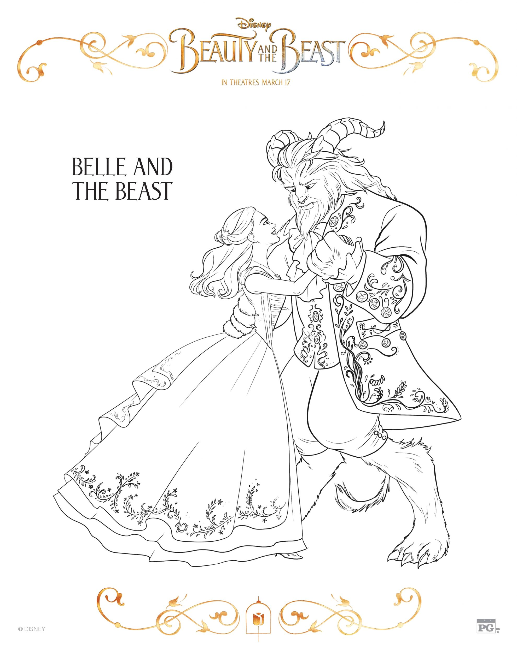 beauty and the beast coloring sheets