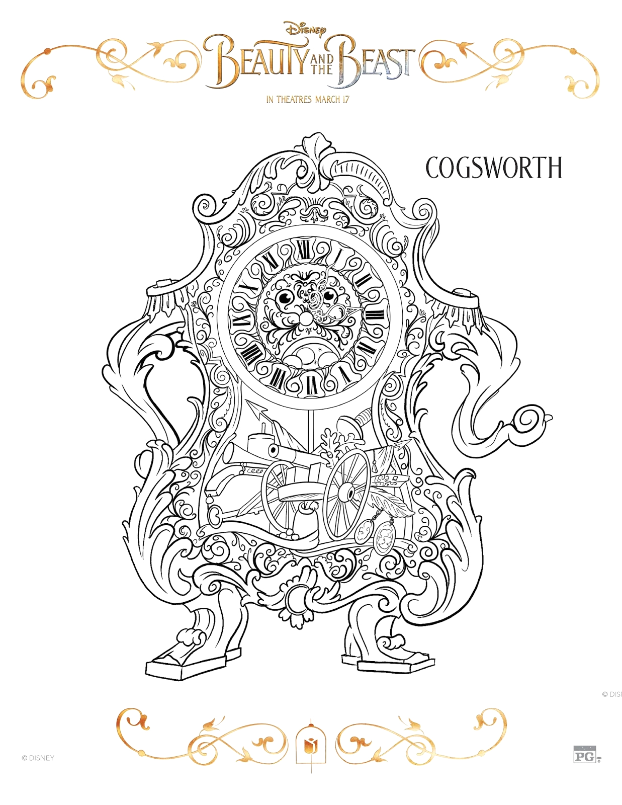 beauty and beast 2017 coloring sheets