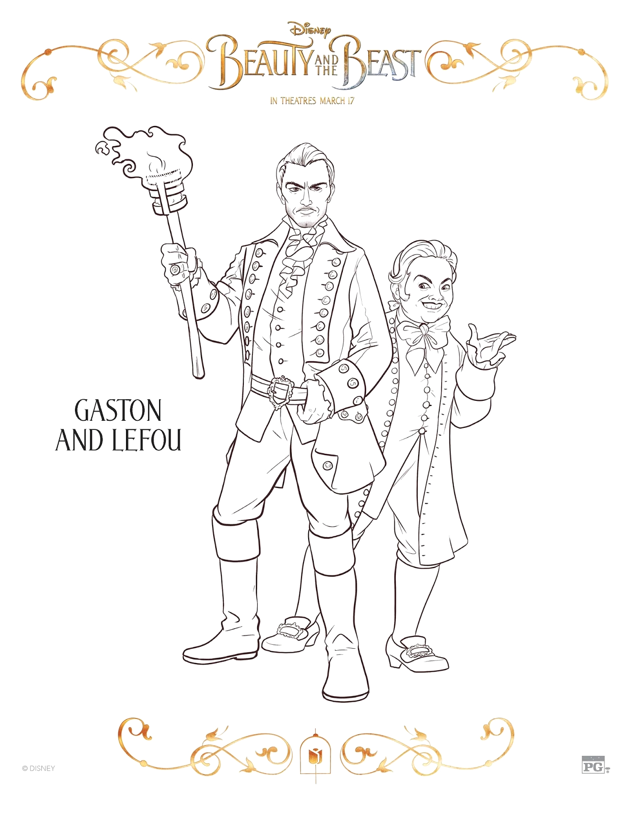 beauty and beast coloring sheets