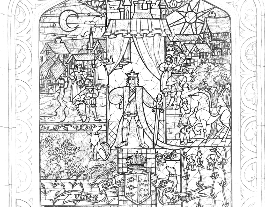 Beauty Beast Stained Glass coloring page
