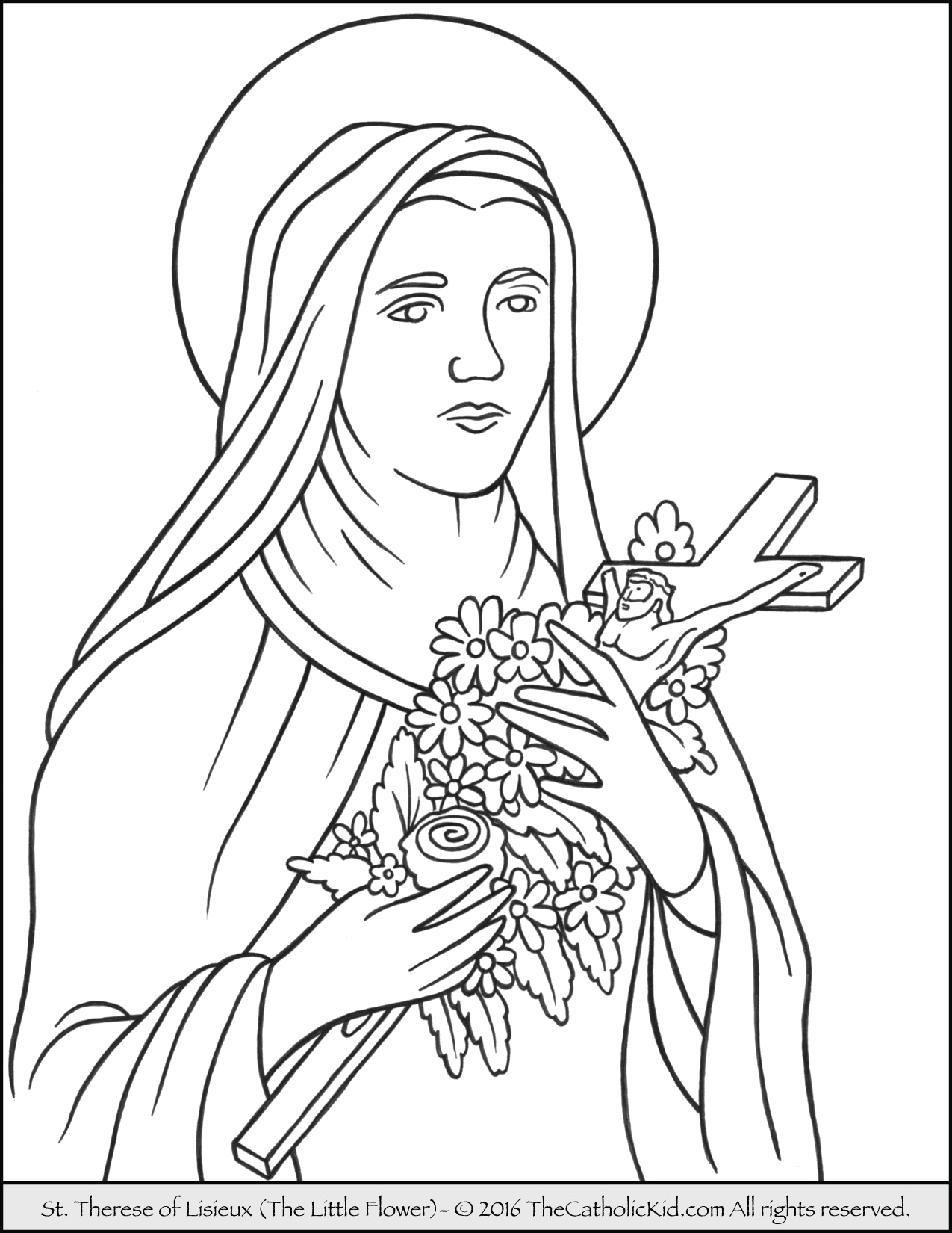 Coloring Page Of St therese Of Lisieux Saint therese Of Lisieux Little Flower Coloring Page