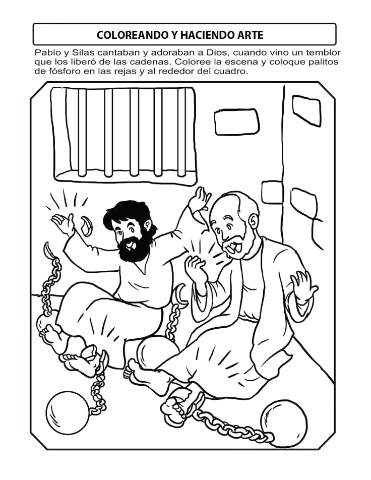 Coloring Page Paul and Silas In Jail Paul and Silas In Prison Google Search